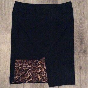 Express Design Studio Black Leopard Lined Skirt